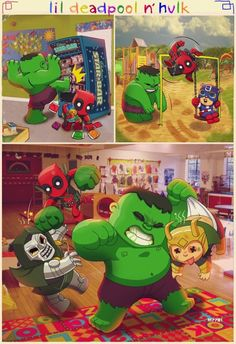 Lil' Deadpool and Hulk