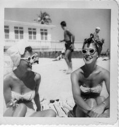 Turbans on the beach 1950's because hair was in pincurls for the Saturday night date.