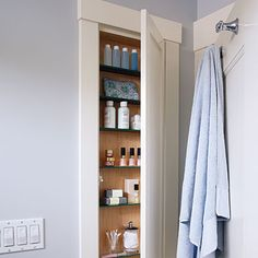 Get sneaky - Keep small spaces uncluttered with our creative storage and organization solutions. Behind the bathroom door is a perfect place for a cabinet of recessed shelves, just deep enough to hold one row of shampoo bottles or nail polish.