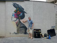 """After a series of pieces in Paris (covered), Irish painter Fin DAC is now in Ibiza for the Urban In Ibiza festival. He just completed these two vibrant and intricate stencils featuring his signature sexy feminine imagery."""