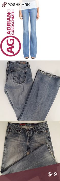 AG Adriano Goldschmied The Club Light-Wash Flare Size 28 AG The Club Light-Wash Flare Jeans. 32inch inseam. 7 inch rise. 98% Cotton, 2% Lycra. Fabulous Pre-Loved Condition aside from minor fraying along hem.   All items come from a smoke free home and are shipped on the same or following day an order is placed.   Items are shipped in polymailers placed INSIDE boxes to ensure all purchases are completely protected from damage or weather conditions. Ag Adriano Goldschmied Jeans Flare & Wide…