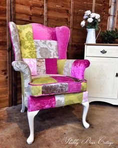 Patchwork Parker knoll fireside arm chair. Vintage. Shabby chic. French country. Traditional. Rustic. Pine. Cabriole legs. DIY. Upholstered. Wingback. Cream. Pink. Green. Furniture. Living room. Sofa. Couch. Suite.