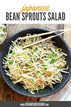 Light and refreshing, quick and easy, this Japanese Bean Sprouts Salad is the perfect side dish. Bean Sprout Salad, Bean Sprout Recipes, Sprouts Salad, Japanese Side Dish, Japanese Salad, Fodmap, Asian Side Dishes, Tofu, Tempeh