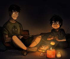 Jack the Vulture:  Bros living-room camping during a power outage. This spawned from my friend roxythebat suggesting I draw Tadashi roasting marshmallows with Hiro.