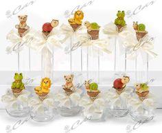 Fialette e barattolini di vetro con tappo di sughero e miniatura animaletto in resina