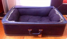 DIY: Vintage SuitCase Dog Bed. This a definitely a project I will do!!