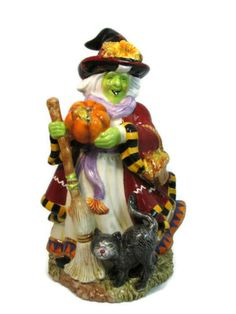 """Signature Home Collection Ceramic Autumn Witch Halloween Figurine Statue 12"""" Tall 00525 Measurement: 12"""" Tall X 7"""" widest X 7"""" length at the bottom base Condition: Pre-owned, no chips, no cracks, no crazing, very shiny and like new, in very good condition. Original box has minor shelf wear. Baby Halloween, Halloween Themes, Vintage Halloween, Halloween Decorations, Autumn Witch, Flying Witch, Halloween Village, White Coffee Mugs, Christmas Angels"""