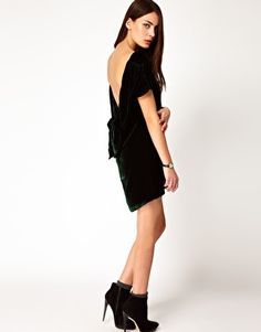 I'm madly in love with this hunter-green velvet dress on ASOS.