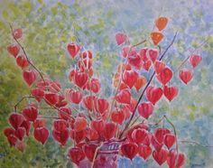 Original Watercolor Physalis Flowers Painting Art by Ukraine Artist   eBay