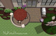 Brick Patio with Circle Paver Pattern - Patio Designs & Ideas