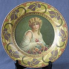 Antique Royal Saxony Art Tin Plate Woman with Roses (Hand Painted Decorative Plates Animals u0026 People) at Silversnow Antiques and  sc 1 st  Pinterest & Antique Tin Art Plate of Beautiful Woman | Decorative Plates ...