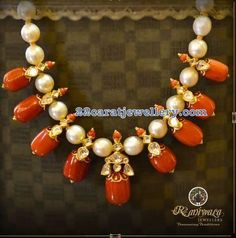 Contemporary coral beads and south sea pearls necklace sets apt for any attire Gold Jewellery Design, Bead Jewellery, Beaded Jewelry, Bridal Jewelry, Jewelry Bracelets, Coral Jewelry, India Jewelry, Kids Jewelry, Gold Pendent
