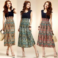 Lady Vintage Sleeveless Bohemian High Waist Long Dress
