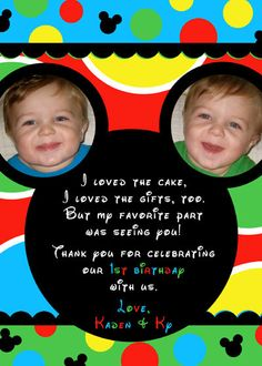 Mickey Mouse Clubhouse Birthday Party Thank you cards Mickey Mouse Bday, Mickey Mouse Clubhouse Birthday Party, Mickey Party, Mickey Mouse Birthday, Baby Boy 1st Birthday, 3rd Birthday Parties, Birthday Fun, Birthday Party Invitations, Birthday Ideas