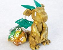 Gold and green dragon dice holder sculpture - gold dragon d20 holder - polymer clay figurine - 20 sided die - Dungeons and Dragons - DnD