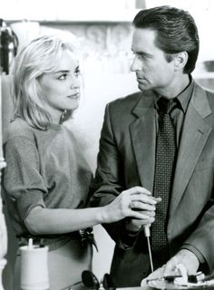 Michael Douglas and Sharon Stone in Basic Instinct