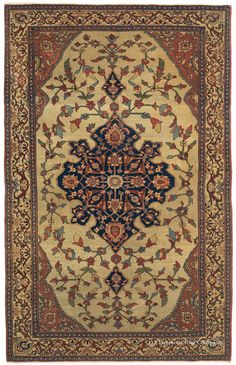 FERAHAN SAROUK - West Central Persian, x Circa Exceptional balance and consummate craftsmanship elevate this top-drawer Ferahan Sarouk antique rug to impressive aesthetic heights. Persian Carpet, Persian Rug, Iranian Rugs, Iranian Art, Rug Company, Central, Magic Carpet, Floor Rugs, Rugs On Carpet