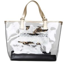 DSQUARED2 Pvc trasparent shopping bag (30915 RSD) ❤ liked on Polyvore featuring bags, handbags, tote bags, leopard handbags, leopard print tote, white handbags, shopping tote bags and leopard purse