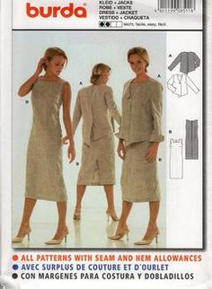 Sewing Patterns,Vintage,Out of Print,Retro,Vogue Simplicity McCall's,Over 7000 - Burda 8511 Dress Back Button Overblouse Size 6-16 Out of Print