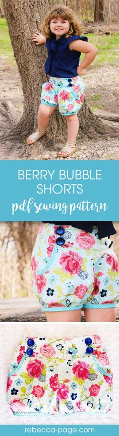 PDF sewing pattern - The Berry Bubble Shorts for babies and girls are beautifully finished. This girls shorts pattern is fully lined and has absolutely no raw edges showing, giving a truly boutique professional finish. Quite simply #adorabubble!