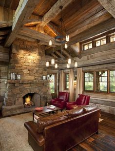 Beautiful, rustic living room! ~ #rafters