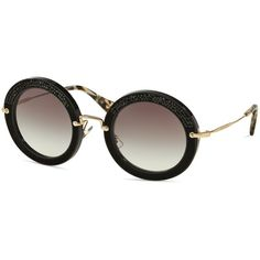 Miu Miu Glittering Round Sunglasses, 49mm (19,720 PHP) ❤ liked on Polyvore featuring accessories, eyewear, sunglasses, miu miu, mod sunglasses, miu miu glasses, miu miu eyewear and round frame glasses