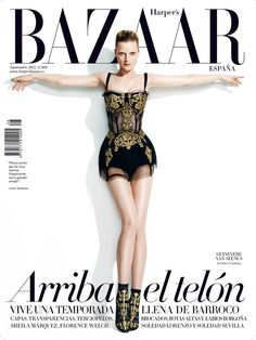 Guinevere van Seenus Covers Harpers Bazaar Spain September 2012 in Dolce & Gabbana