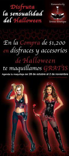¡Checa esta promoción y ven ya por tu disfraz a Kamasutra by Sensus! Tenemos de Harley Quinn, Policía, Conejita PlayBoy, Gatúbela, Pirata, Catrinas, Gitana, Arlequin, Mujer maravilla, Vampira, Bombera, Maléfica, etc... Además Pelucas, Pupilentes, Maquillaje, Pestañas, Corsettes, Tutus, Medias, Accesorios y mucho más... Contamos con sistema de apartado. #Halloween #PlayaDelCarmen #RivieraMaya #SensualidadConEstilo #Promoción #Octubre #Costume