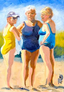 Margie O'Hara - A Creative Life: An Afternoon Chat on Block Island Beach Girls, Beach Babe, Easy Watercolor, Watercolor Paintings, Watercolors, Beach Illustration, Arte Pop, Beach Scenes, Whimsical Art