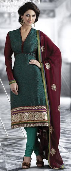 $58.38 Teal Blue Embroidery Silk Churidar Salwar Suit 23987