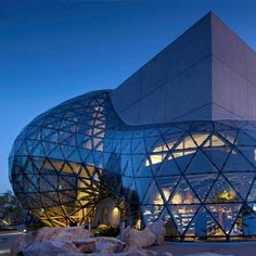 Dali Museam in florida, 1062 triangular pieces of glass forming a huge geodesic glass bubble.