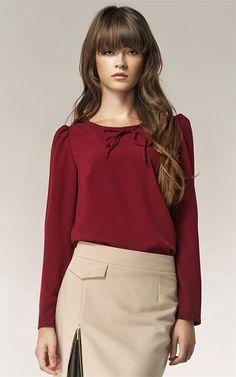 Ozsale - Long Sleeved Tie Blouse Maroon - Ozsale.com.au