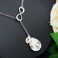 Infinity Charm with Personalized Leaf and Swarovski Crystal Bridesmaid Necklace - Earrings Nation