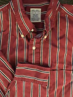 Mens Brooks Brothers 1818 Burgundy White Blue Striped X-Large Relaxed Fit Shirt Brooks Brothers, Workout Shirts, Blue Stripes, Shirt Designs, Burgundy, Flannel Shirts, Bags, Stuff To Buy, Clothes
