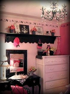 Pink and Black Bedroom   Free Style Interiors   Bonita Springs    Parisian Vintage Barbie Girls Room  Inspired by my daughters love of  Barbie and. Barbie Bedroom Decor. Home Design Ideas