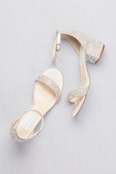 Low Block Heel Sandals with Allover Gem Embellishment Prom Heels from David's Bridal is part of Bridal shoes low heel - Bridal Heels, Wedding Shoes Heels, Bride Shoes, Low Heel Bridal Shoes, Wedding Shoes Block Heel, Comfy Wedding Shoes, Davids Bridal Shoes, Wedding Sandals For Bride, Outdoor Wedding Shoes