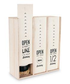 25 Look what I found on #zulily! Marketplace Birthday Three-Bottle Wine Box by True Fabrications #zulilyfinds