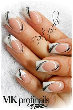 With all silver or bridesmaid dress colors instead of black for # Wedding nails Nails design Source by NagelDesignsClub Nagellack Design, Nagellack Trends, French Nail Art, French Tip Nails, French Manicures, French Nail Design, White French Nails, Fancy Nails, Trendy Nails