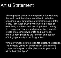 famous photographer artist statements - Google Search