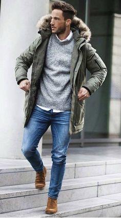 @magic_fox - Fall fashion inspiration with a green parka white button up shirt gray sweater denim brown suede boots #fallfashion #falloutfits #menswear #menstyle #mensapparel #parka #parkajacket #sweater #denim #mensfashion