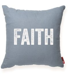 Faith Blue Throw Pillow