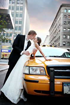 kiss on a yellow cab