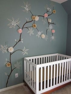 Make your nursery(or other rooms) come alive with decorative art. #diy #pinparty - I could do this with dried flowers but in a cherry blossom tree!