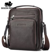 290f0946c BISON DENIM Top Quality 100% Genuine Leather Bag Men iPad Tabelt Cowskin  crossbody bag Men's