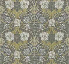 Honeysuckle and Tulip Charcoal / Gold wallpaper by Morris