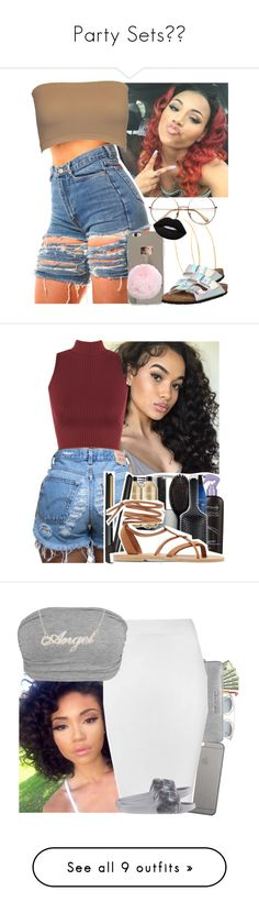 """Party Sets"" by marlei-dolce ❤ liked on Polyvore featuring Lana, Birkenstock, Lime Crime, WearAll, Valia Gabriel, Yves Saint Laurent, Christian Dior, Native Union, Michael Kors and Glamorous"