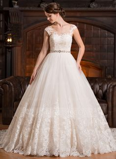 Ball-Gown Scoop Neck Cathedral Train Tulle Wedding Dress With Beading Appliques Lace Sequins (002056486) - JJsHouse