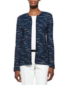 St. John Collection Inlay Ribbon Stripe Knit Jacket, Rib Knit Bateau Neck Shell, Stretch Micro Ottoman Pants & Leather Bar-Detail Belt