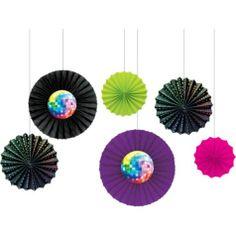 Disco Fever Paper Fan Decorations 6ct - Party City
