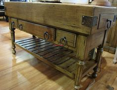 Distressed Large Kitchen Counter Island Double Butcher Block Antique Oak